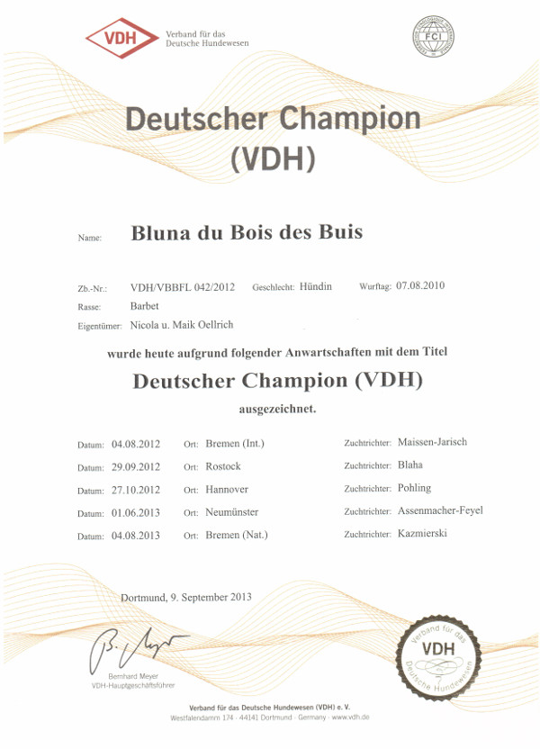 Bluna: Deutscher Champion (VDH)